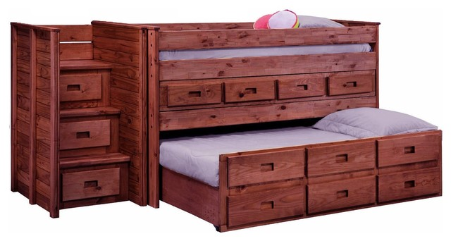 Duke Full Jr Combo Stairway Loft Bed, Mahogany.