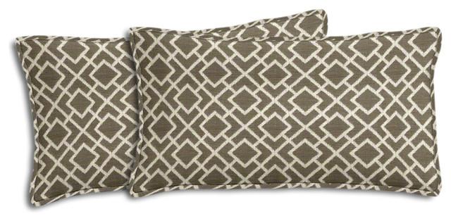 Gray and Cream Geometric Outdoor Lumbar Pillow Set