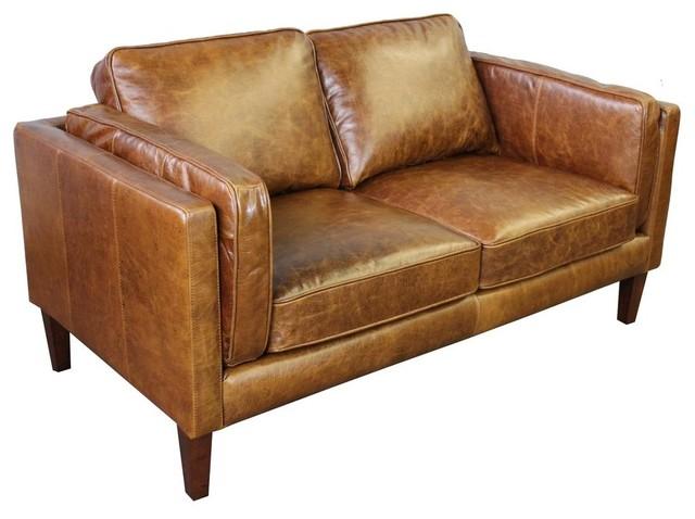 Uptown Top Grain Vintage Leather Love Seat, Light Brown.