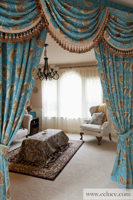 Medici Sapphire Valance Curtains With Swags And Tails By Celuce Com Traditional New York