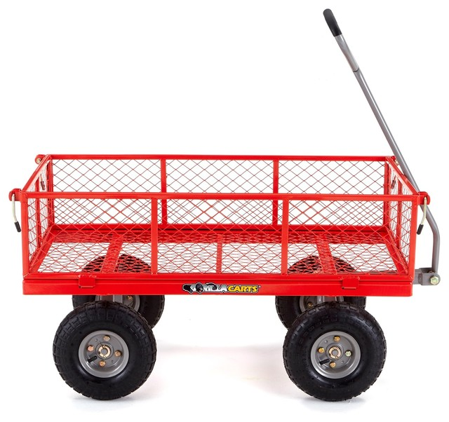 gorilla carts steel utility cart with removable sides 800pound capacity red traditional