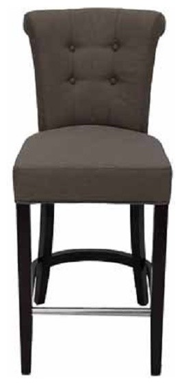 roll back fabric stool with tufted back and metal footrest modern bar stools and counter. Black Bedroom Furniture Sets. Home Design Ideas