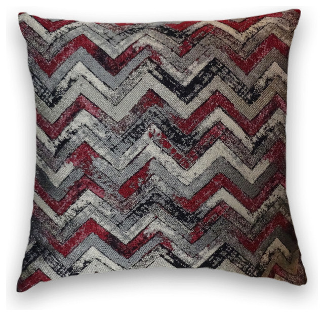 Red Gray Black Zig Zag Throw Contemporary Decorative Pillows Extraordinary Red And Gray Decorative Pillows
