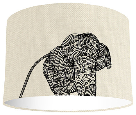 Elephant Lampshade With a Standard White Lining, 20x20 cm