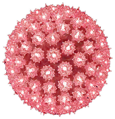 "10"" Lighted Hanging Mega Starlight Sphere Ball Christmas Decoration, Pink"