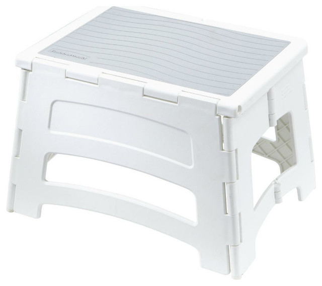 Enjoyable Rubbermaid Rm Pl1W Single Step Plastic Folding Stool 300 Lb Capacity Onthecornerstone Fun Painted Chair Ideas Images Onthecornerstoneorg