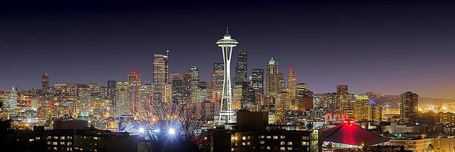 Seattle Skyline Panorama Wall Mural, Self Adhesive Wallpaper Contemporary  Wall Decals Part 87