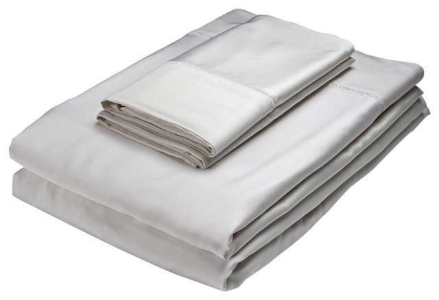 Home Source Bamboo Rayon Fitted Sheet, White, Twin