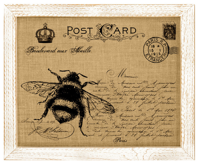 Bee Post Card Burlap Wall Art