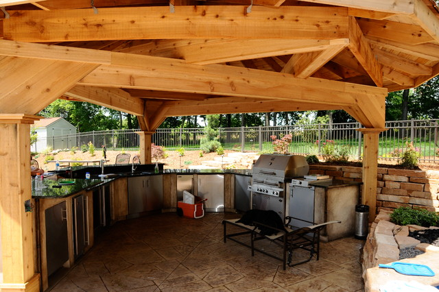Outdoor kitchen gazebo for Outdoor kitchen ideas houzz