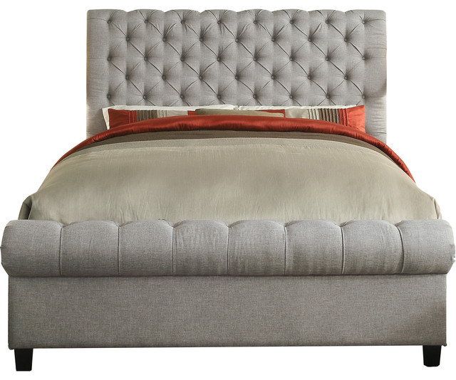Calia Upholstered Tufted Panel Bed, Gray, Queen.