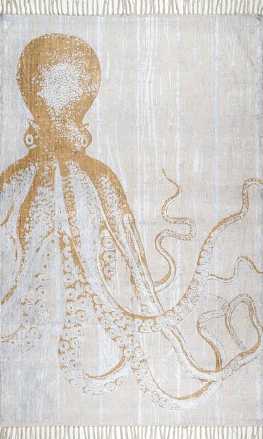 Thomas Paul Metallic Octopus Tassel Ivory Area Rug Beach