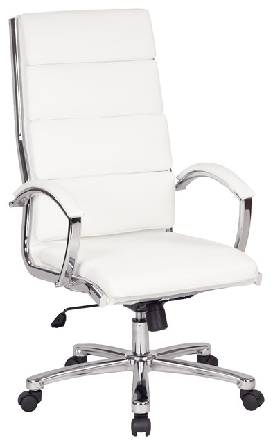 Work Smart High Back Executive White Faux Leather Chair, White