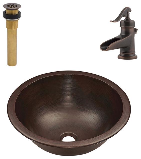 Darwin Undermount/Drop-In Copper Sink Kit With Pfister Bronze Faucet & Drain
