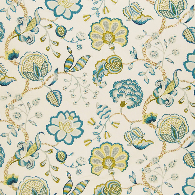 Lagoon Blue Teal Floral Cotton Made In Usa Print Upholstery Fabric