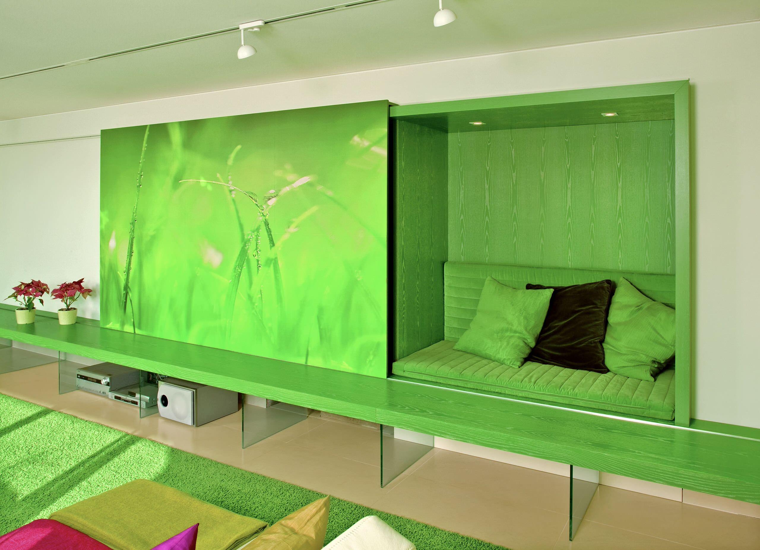 Wohnzimmer, Schiebewand mit Kuschelecke