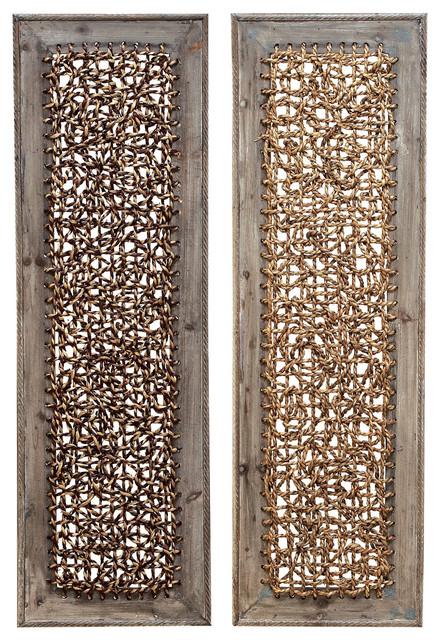Benzara Wood Wall Decor, 2-Piece Set - Transitional - Wall Accents ...