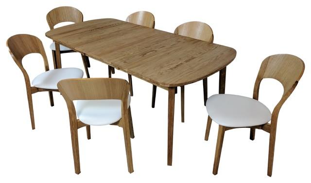 Scandinavian Oiled Oak 7 Piece Dining Set, White Leather Seats And Table  Scandinavian