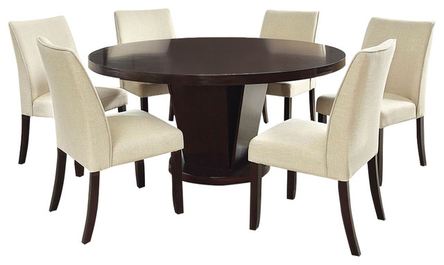 Cimma Espresso Finish Round 7 Piece Dining Table Set With Lazy Susan Transitional