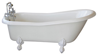 Imperial white slipper clawfoot tub with white feet for A table restoria