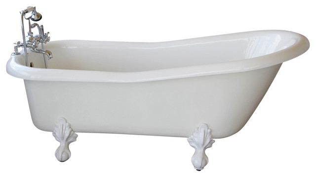 Imperial White Slipper Clawfoot Tub With Nickel Feet, Wall Drilled Faucets  Traditional Bathtubs