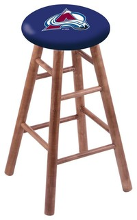 "Colorado Avalanche Swivel Stool With Medium Brown Maple Wood Base, 18"" Vanity"