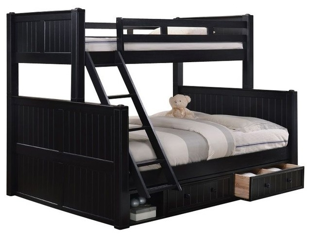 Beatrice Black Extra Long Full Over Queen Bunk Bed With Underbed Storage Drawers
