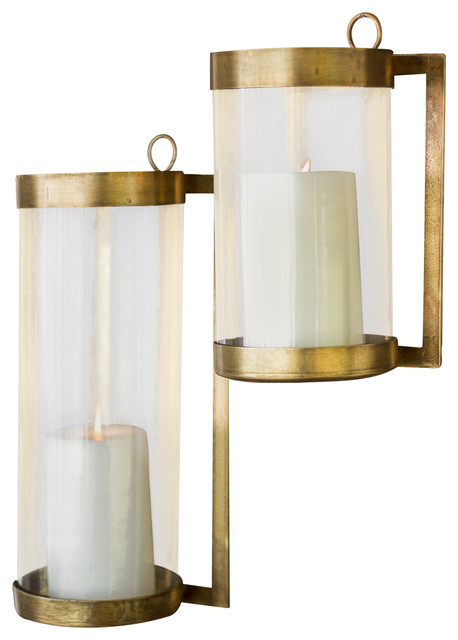 Wall Mounted Hurricane Lamps : Glass And Antique Brass Finished Wall Mounted Hurricane, Small - Transitional - Candleholders ...