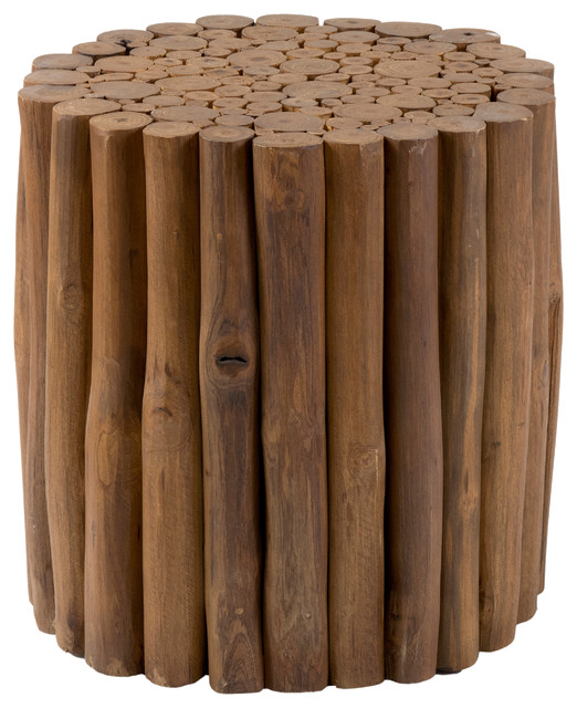 East At Main\'s Mathiston Round Teakwood Stool, Brown - Tropical ...
