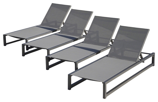 Mottetta Outdoor Finished Aluminum Framed Chaise Lounge With Mesh Body, Set Of 4.