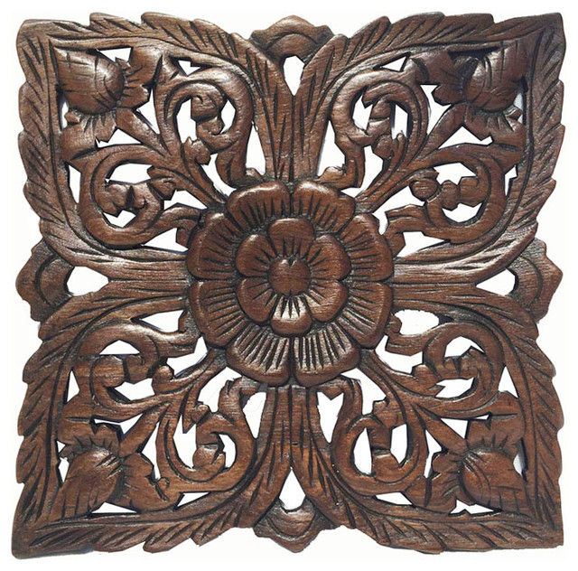 Carved Wood Wall Plaquerustic Wood Wall Decor Asian Wall