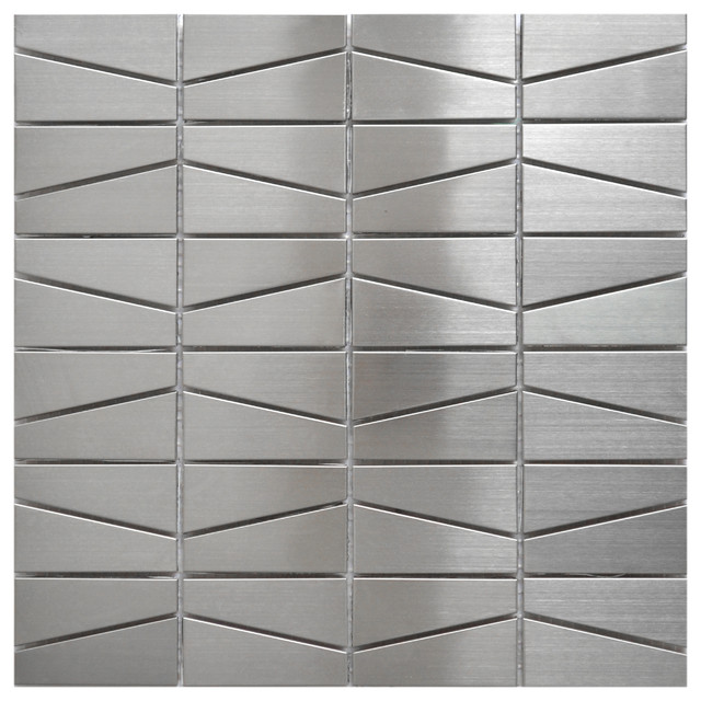 11 75 X11 Trapezoid Stainless Steel Tile Silver Brushed Matte Single Sheet