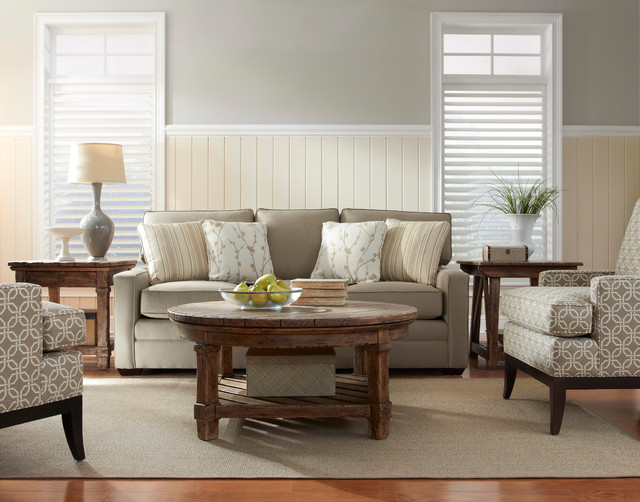Living Room Featuring Sunbrella Custom Upholstered