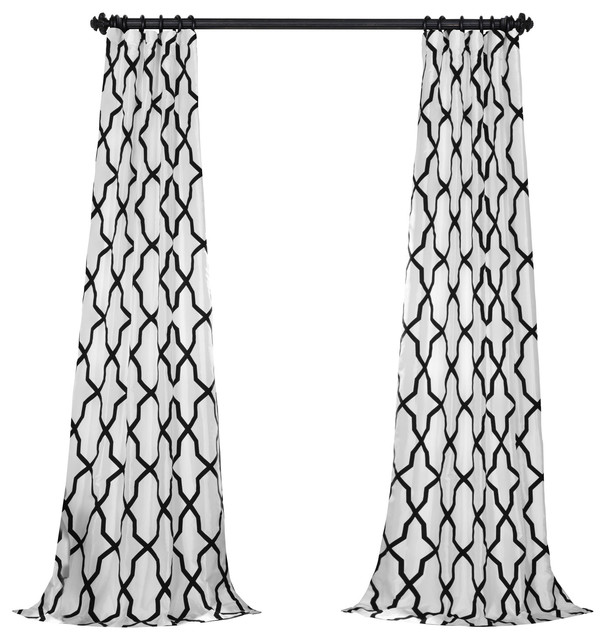 "Pinnacle Flocked Fauxsilk Single Panel Curtain, White/black, 50""x84""."