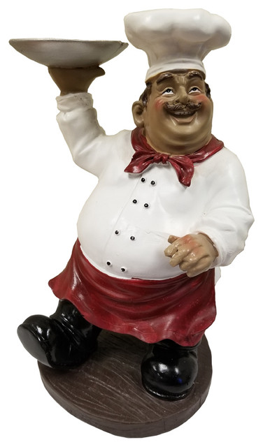 Amusing Chef Holding Tray Statue White Red Black Brown Home Decor 35544