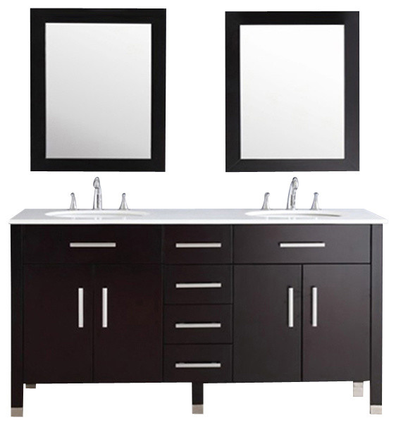 "Bathroom Sinks Double Basin cambridge 72"" double basin sink bathroom vanity, a porcelain"