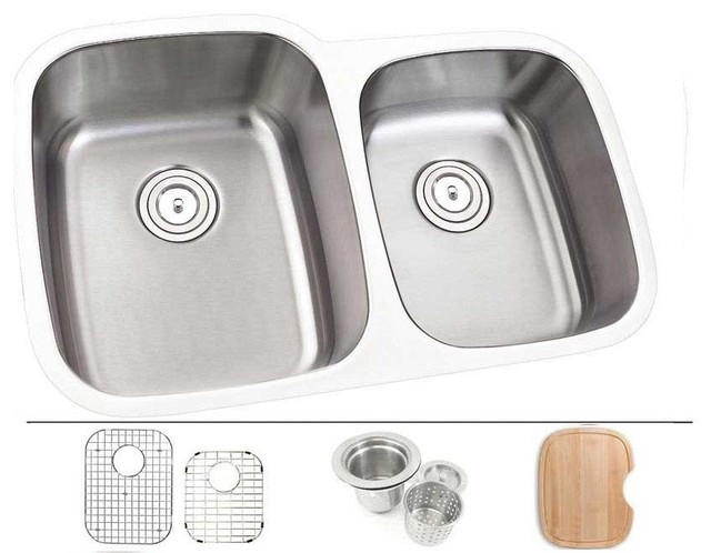 30 Stainless Steel Undermount Double Bowl Offset Kitchen Sink 18 Gauge Left Contemporary