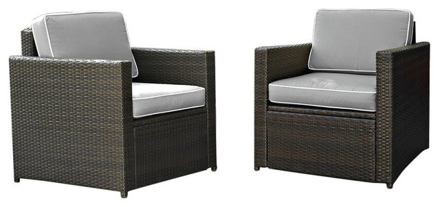 Palm Harbor Outdoor Wicker Seating With Gray Cushions, Set Of 2.
