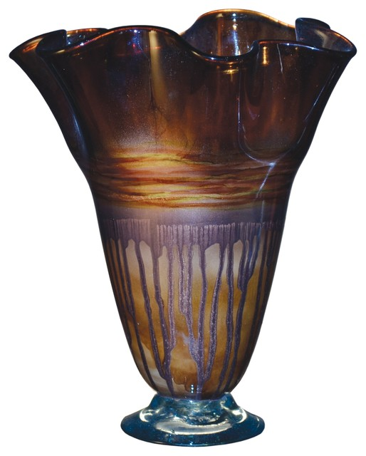 Riviera Sand Glass Ruffle Vase Contemporary Vases By