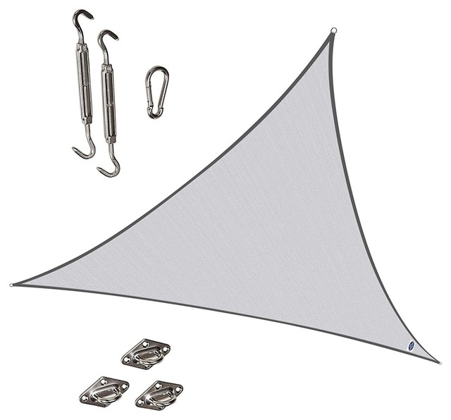 Triangle 11&x27; 5&x27;&x27; Durable Sun Shade Sail W/ Stainless Steel Hardware Kit, Silvery.