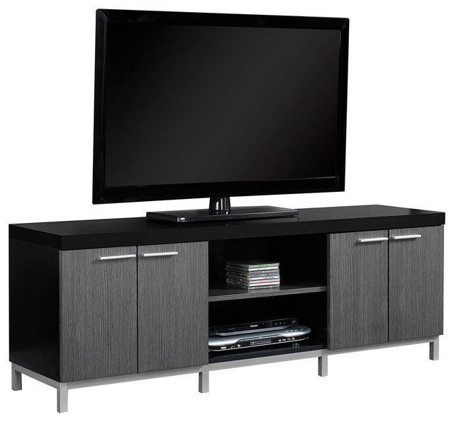 Monarch specialties tv stand 60l black gray view in your tv stand 60l black gray contemporary entertainment centers sciox Images