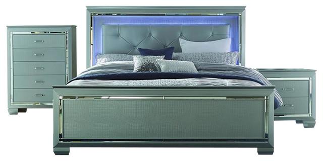 Homelegance Allura 3 Piece Panel Bedroom Set With LED Lighting In Silver  Transitional Bedroom