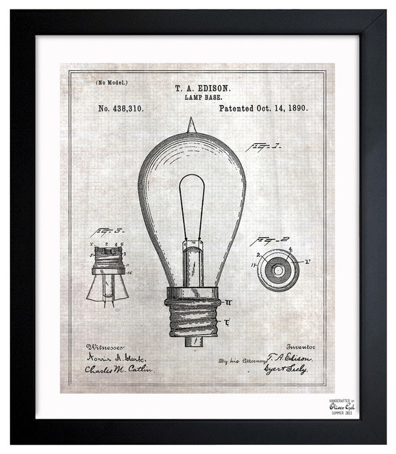 """edison Lamp Base 1890"" Framed Wall Art, 15""x18""."