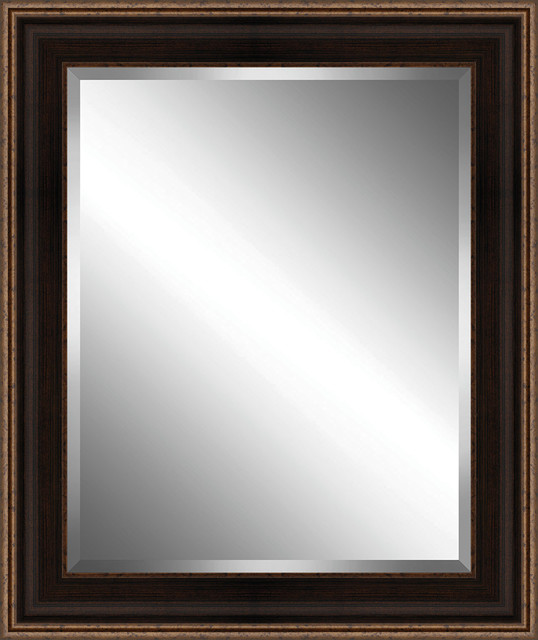 Brown And Bronze Speckled Framed Beveled Plate Glass Mirror, 32x38.