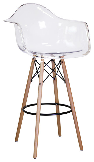 Maxine Stool With Acrylic Seat And Wood Legs Bar Height Contemporary Stools