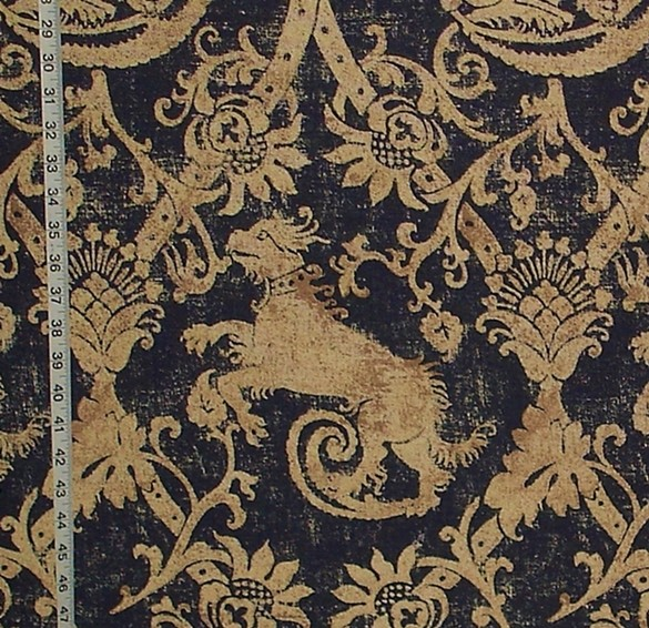 Leather Or Fabric Sofa With Dogs: Renaissance Beast Fabric Dog Blue