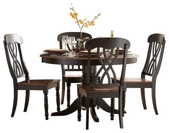 Ordinaire Homelegance Ohana 5 Piece Round Dining Table Set, Cherry And Black