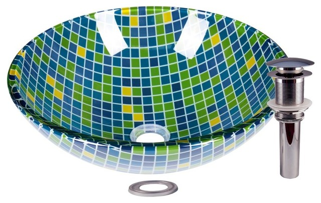 Mosaic Tile Design Tempered Glass Circular Vessel With Pop Up Drain.