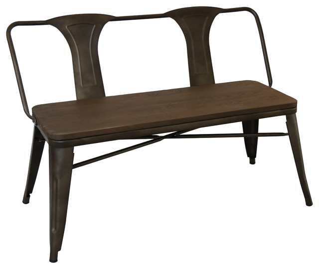 Superior Antique Solid Steel Metal Distressed Dining Bench Full Back Wood Seat  Industrial Dining Benches