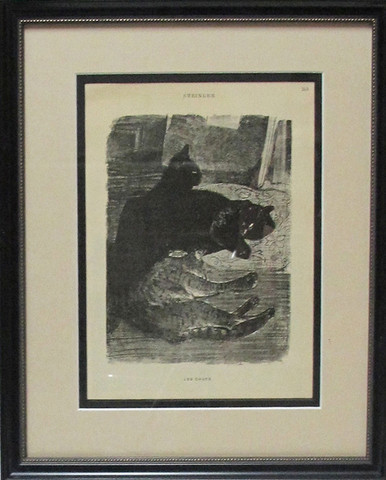 Consigned 1899 Original French Art Nouveau Print, Cats - Steinlen
